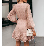 Dusty Pink Long Sleeve Swiss Dot Lace Dress