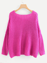 Neon Pink V Neck Oversize Sweater