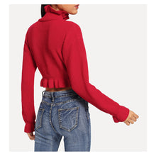 Red Long Sleeve Ruffle Hem Crop Sweater