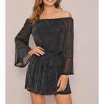 Black Glitter Off the Shoulder Tie Waist Romper