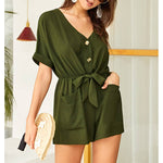 Romper - Military Green Short Sleeve Button Down Romper - MBM Unlimited