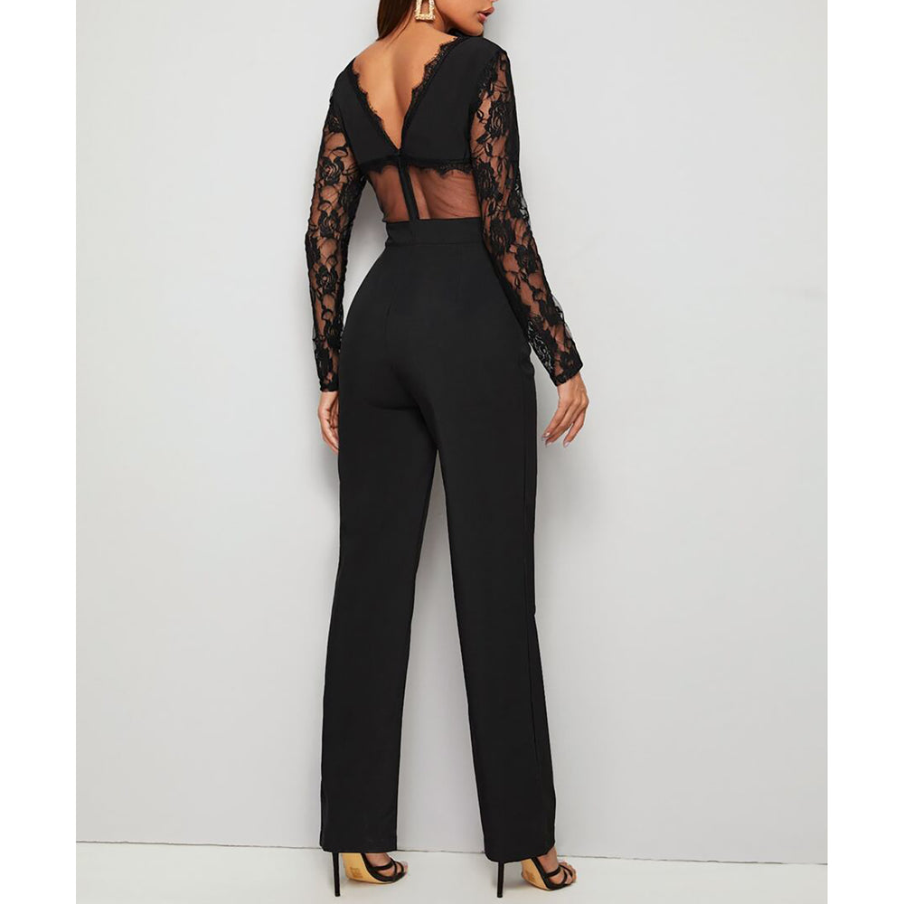 Black V Back Floral Mesh Lace Jumpsuit