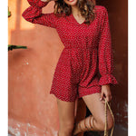 Red Heart Print Flounce Long Sleeve Casual Romper