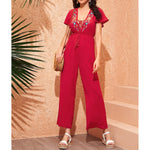 Jumpsuit - Red Embroidered Lace Up Wide Leg Jumpsuit - MBM Unlimited