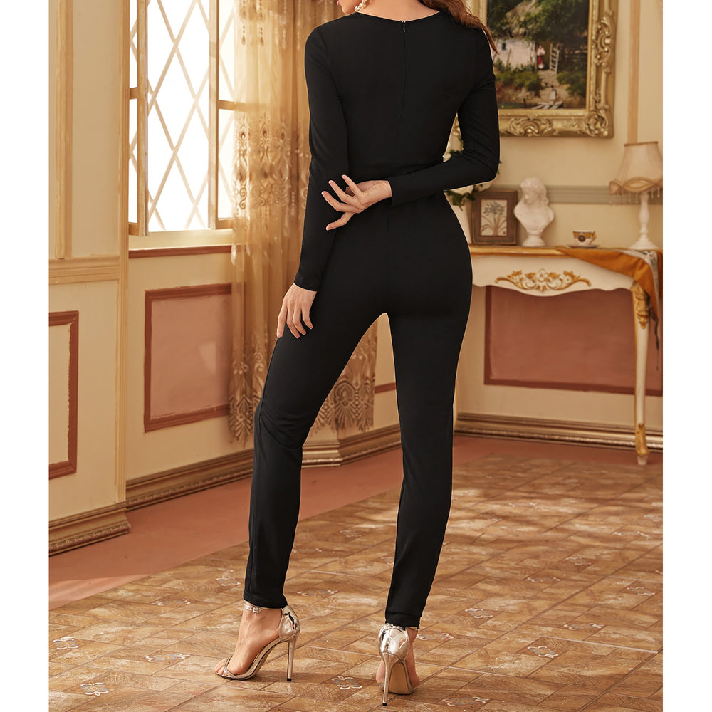 Black Long Sleeve Sweetheart Neckline Jumpsuit