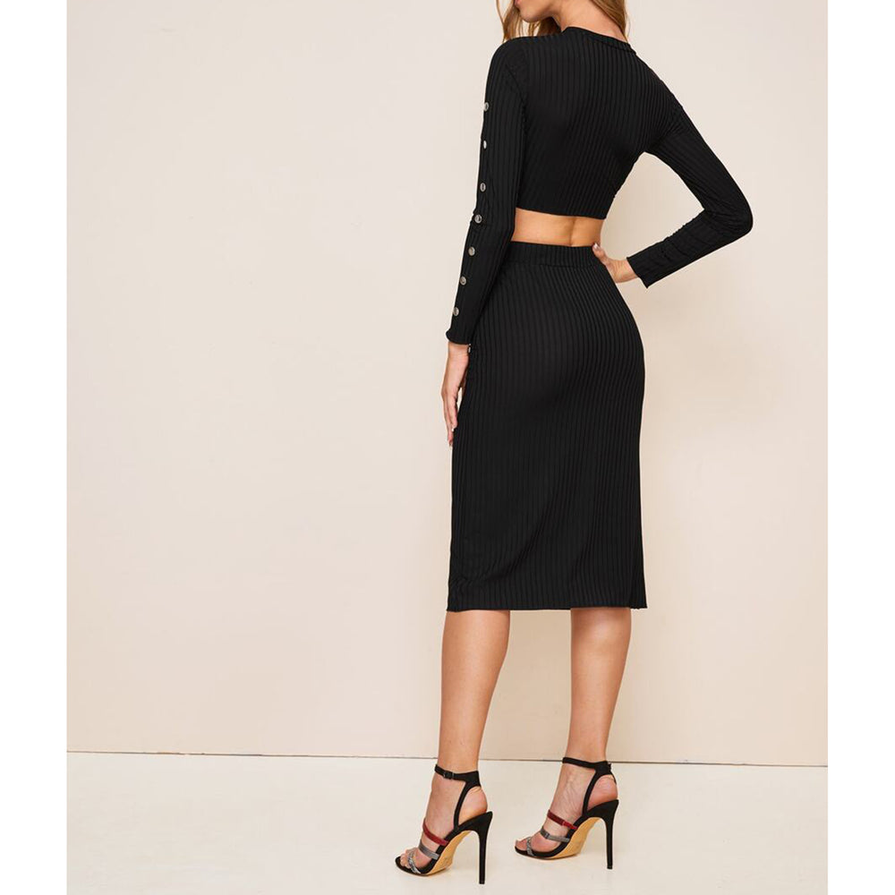 Dress - Black Long Sleeve Ribbed Crop Top Skirt Set - MBM Unlimited