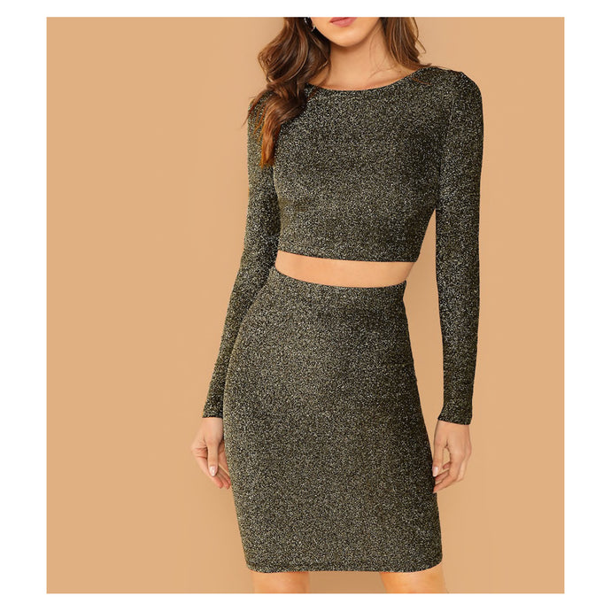 Dress - Black Gold Glitter Long Sleeve Two Piece Dress Crop Top and Skirt - MBM Unlimited