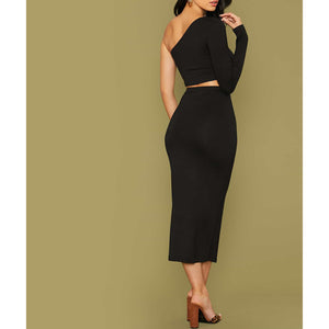 Black One Shoulder Fitted Top and Midi Skirt Set