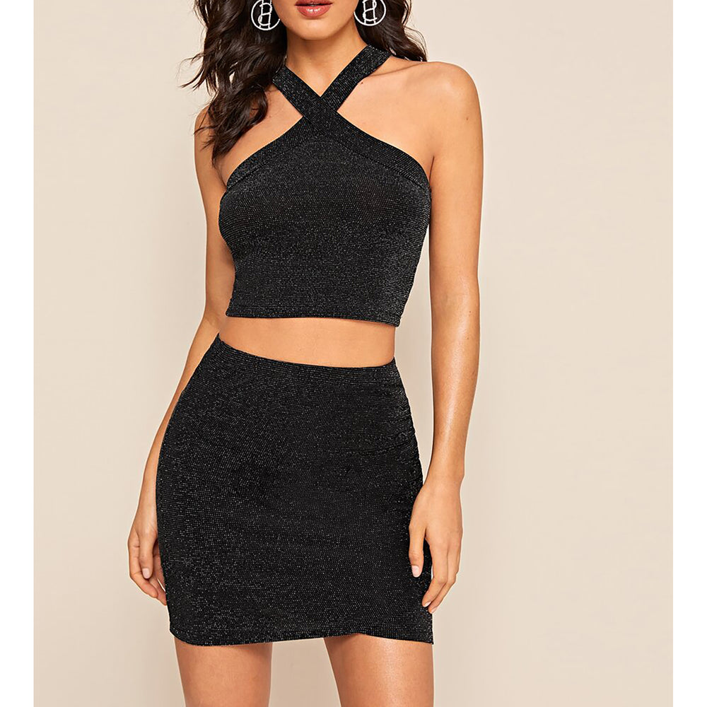 Black Silver Glitter Halter Top and Mini Skirt Set