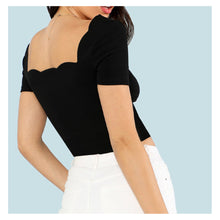 Top - Black Short Sleeve Scallop Neckline Crop Top - MBM Unlimited