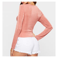 Pink Round Neckline Long Sleeve Front Twist Crop Top