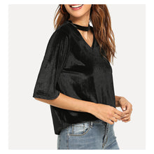 Top - Black Cut Out V Neckline Short Sleeve Velvet Tee - MBM Unlimited