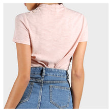 Top - Blush Pink Short Sleeve Solid Choker Tee - MBM Unlimited