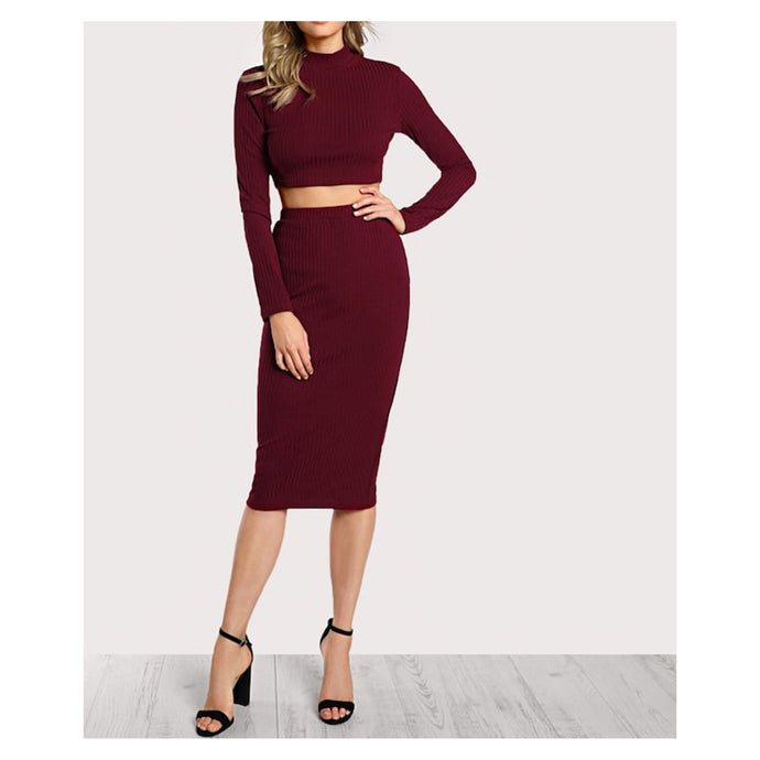 Two Piece Set - Burgundy Red Long Sleeve Ribbed Crop Top Midi Skirt Set - MBM Unlimited