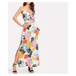 Two Piece Set - White Floral Sleeveless Crop top Maxi Skirt Set - MBM Unlimited