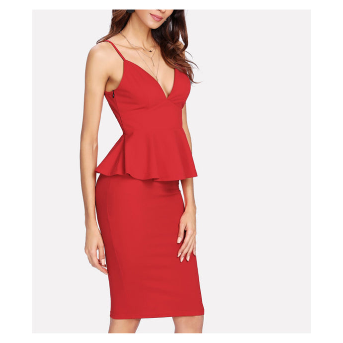 Two Piece Set - Red Plunge Peplum Top and Pencil Skirt Set - MBM Unlimited