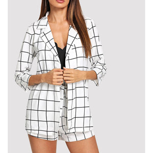 White Black Plaid Blazer and Bow Shorts Coord Set