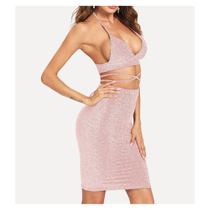Pink Silver Glitter Halter Two Piece Dress Crop Wrap Top and Skirt
