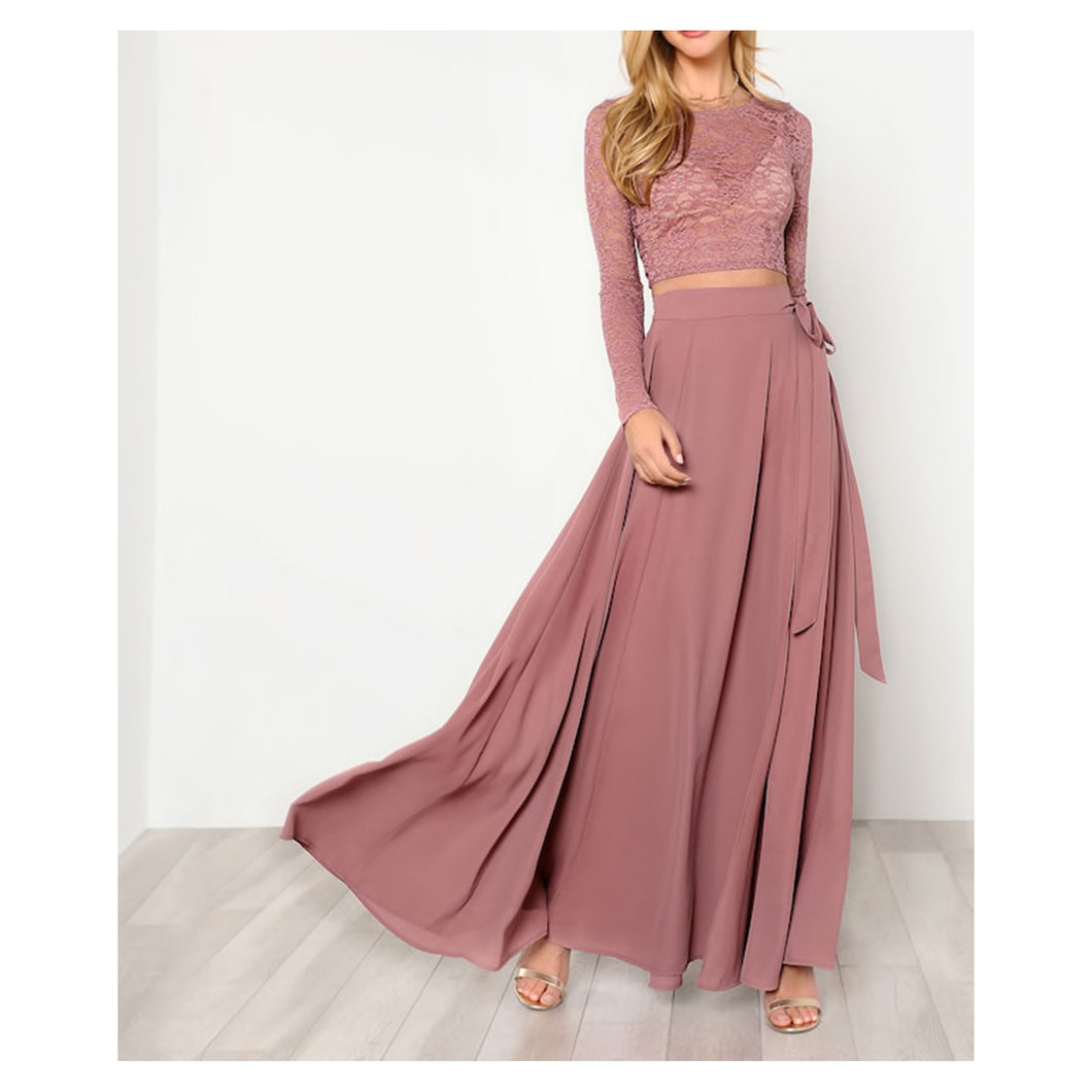 Two Piece Set - Dusty Pink Lace Crop Top Side Knot Maxi Skirt Set - MBM Unlimited