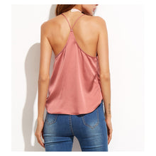 Pink Sleeveless Satin Wrap Cami Top Blouse