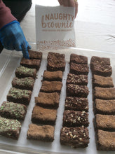 Naughty Brownie minis, flavours, Triple Chocolate, Salted Caramel, Chocolate Orange, Mint Chocolate, Peanut Butter, Nutella