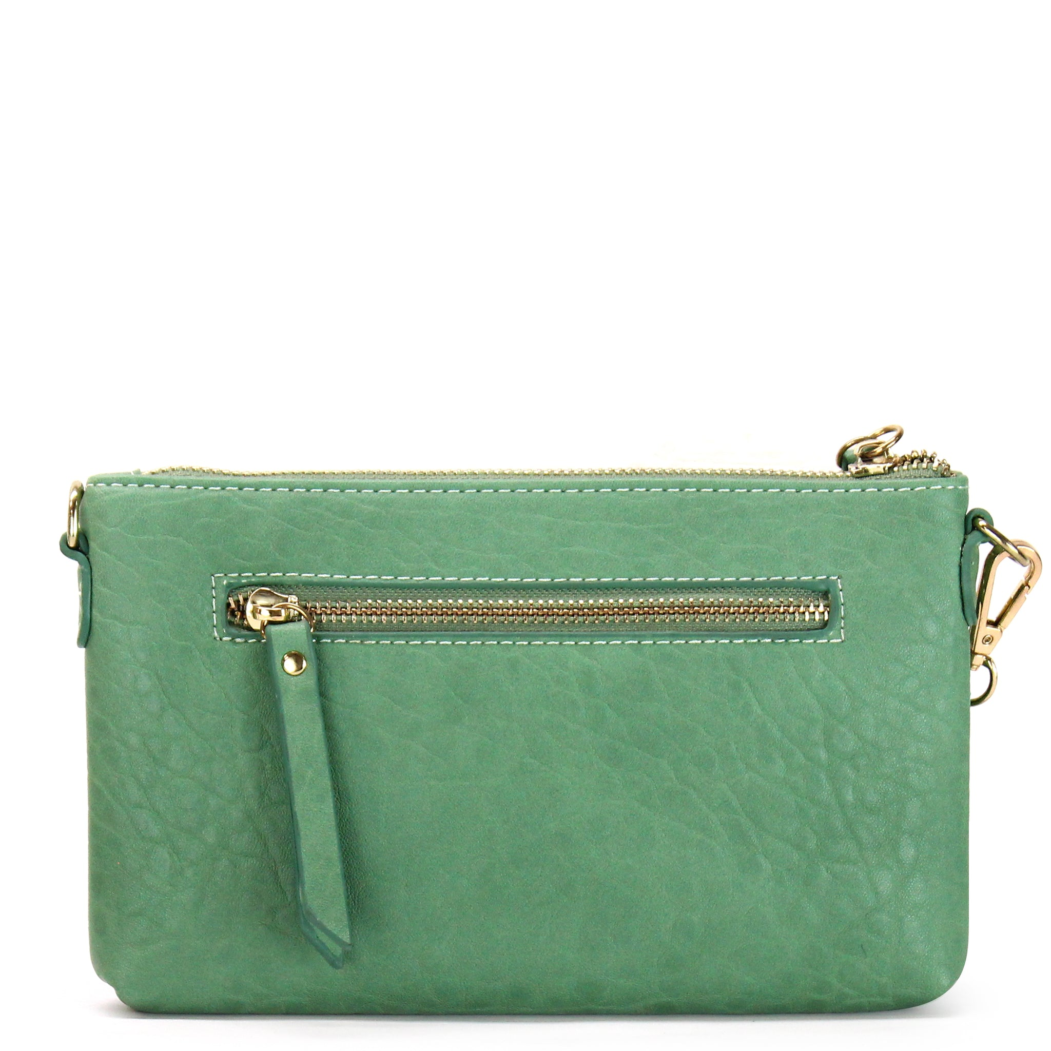 FRONT ZIPPER WRISTLET CLUTCH CROSSBODY BAG - Jenuine Handbags