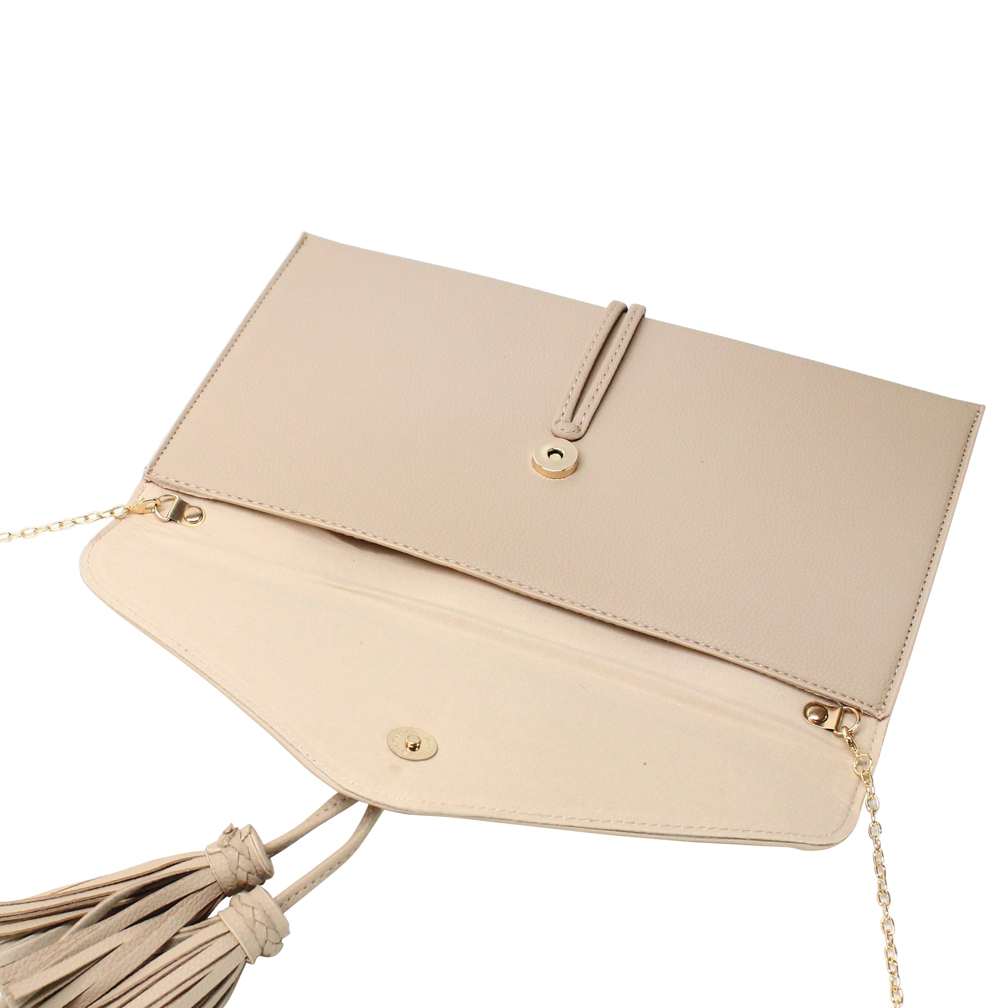 TASSELED ENVELOPE CLUTCH WITH CHAIN STRAP - Jenuine Handbags