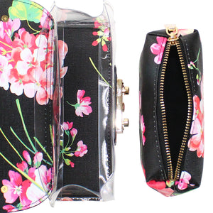 FLOWER PRINT TRANSPARENT CROSSBODY SHOULDER BAG - Jenuine Handbags