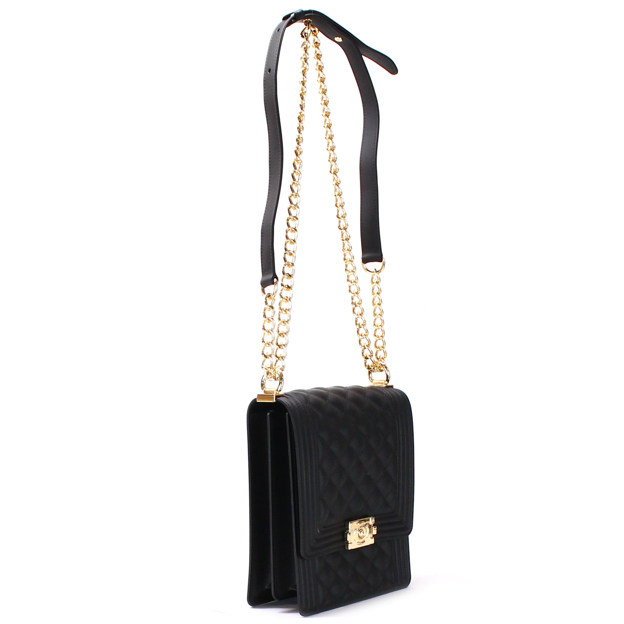 VERTICAL QUILTED SILICONE SHOULDER BAG WITH CHAIN STRAP - Jenuine Handbags