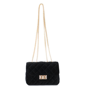 QUILTED PLUSH VELOUR SHOULDER BAG - Jenuine Handbags