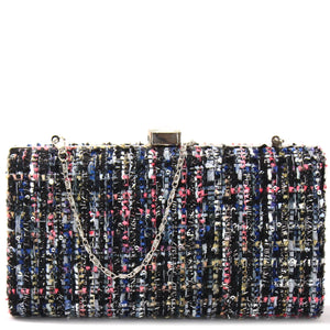 STRUCTURED TWEED EVENING BAG CLUTCH WITH CHAIN - Jenuine Handbags