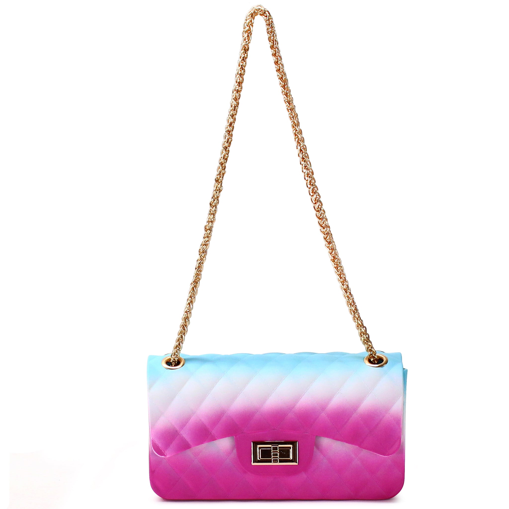 QUILTED RAINBOW SILICONE SHOULDER BAG WITH CHAIN STRAP - Jenuine Handbags