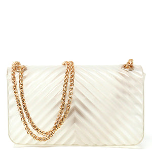 EMBOSSED TRANSPARENT SILICONE SHOULDER BAG WITH CHAIN STRAP - Jenuine Handbags