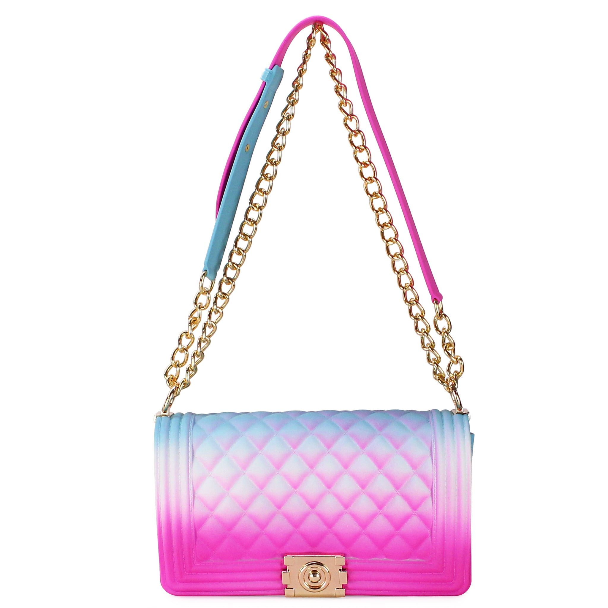 QUILTED RAINBOW SILICONE SHOULDER BAG - Jenuine Handbags