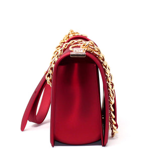 EMBOSSED SILICONE SHOULDER BAG WITH CHAIN STRAP - Jenuine Handbags