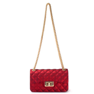MINI QUILTED SILICONE SHOULDER BAG WITH CHAIN STRAP - Jenuine Handbags
