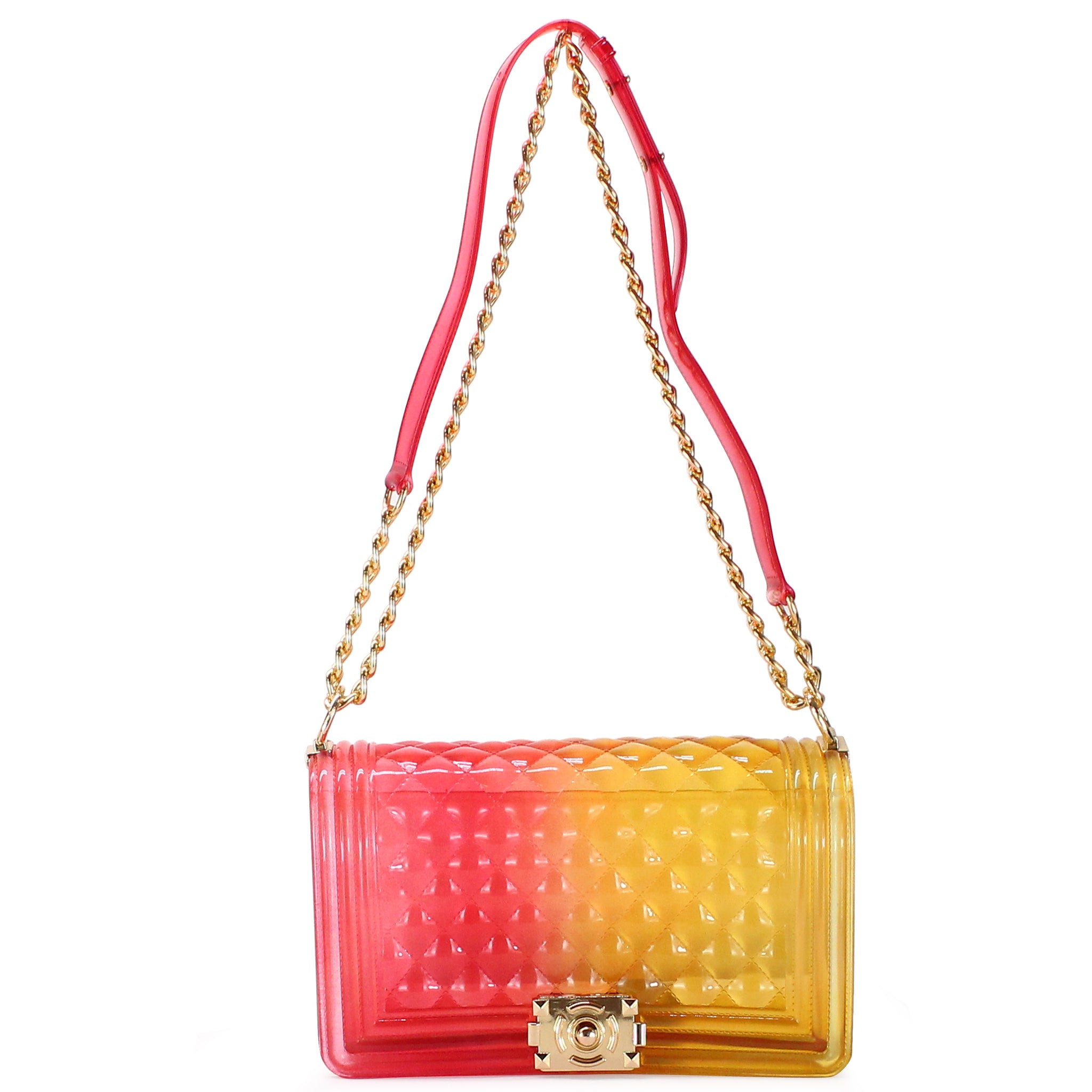 TWO-TONED TRANSPARENT JELLY QUILTED SHOULDER BAG - Jenuine Handbags