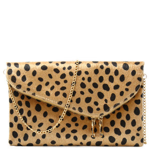FURRY LEOPARD ENVELOPE CLUTCH WITH CHAIN STRAP - Jenuine Handbags