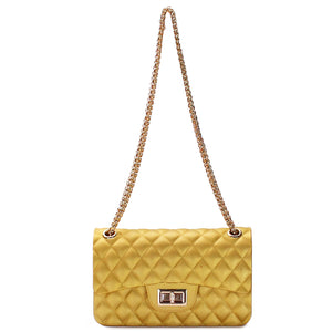 QUILTED SILICONE SHOULDER BAG WITH CHAIN STRAP - Jenuine Handbags