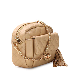 QUILTED TASSEL CROSSBODY BAG WITH FRONT POCKET - Jenuine Handbags