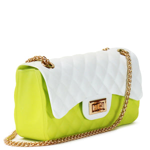 QUILTED GRADIENT SILICONE SHOULDER BAG WITH CHAIN STRAP - Jenuine Handbags