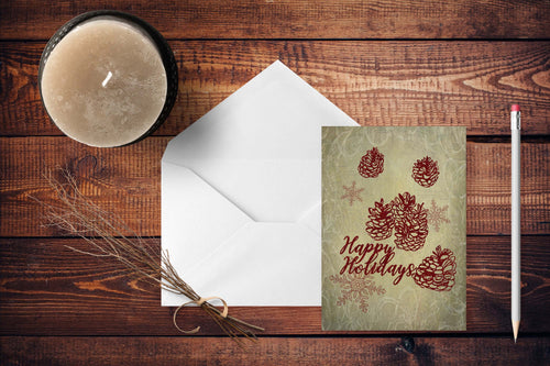 Happy Holidays Snowflakes and Pine Cones Folded Cards