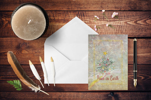 Peace On Earth CB Christmas Tree Folded Cards
