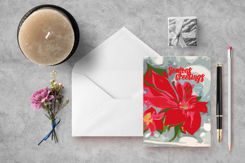 Cheerful Poinsettia Seasons Greetings Folded Cards