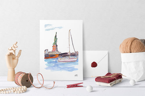 Liberty on the Water Print by Andrea LaHue