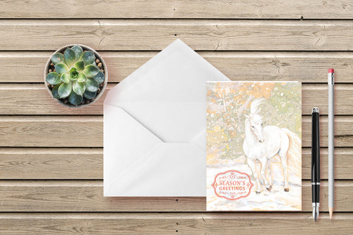 Graceful Winter White Stallion Folded Cards