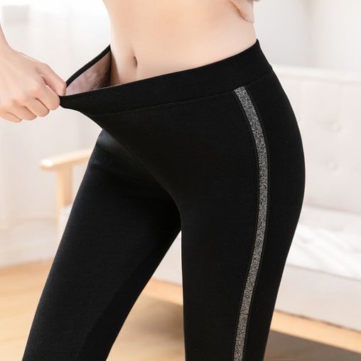 Autumn Winter Cotton Velvet High Waist Leggings