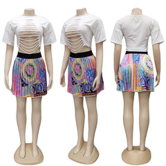 Women African Print Elastic Rock Style Skirts