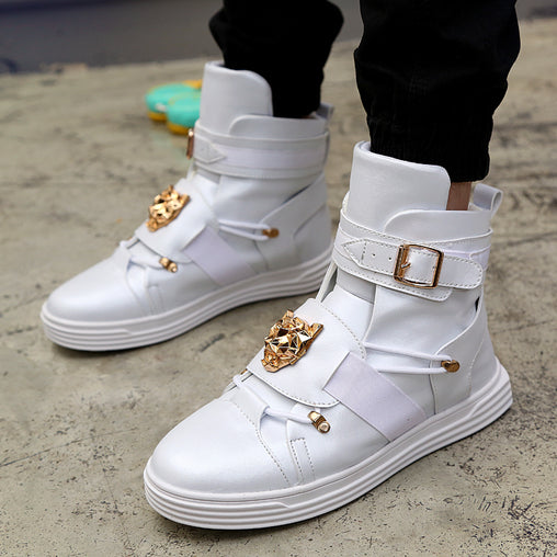 Men Dance Flats Rivet Metal Hip Hop Boots