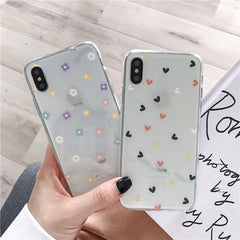 Floral Love Heart Transparent Silicon Phone Cases